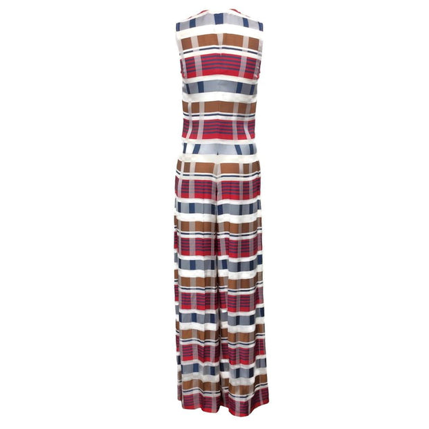 Sonia Rykiel Blue/White/Red Multi Plaid Romper/Jumpsuit