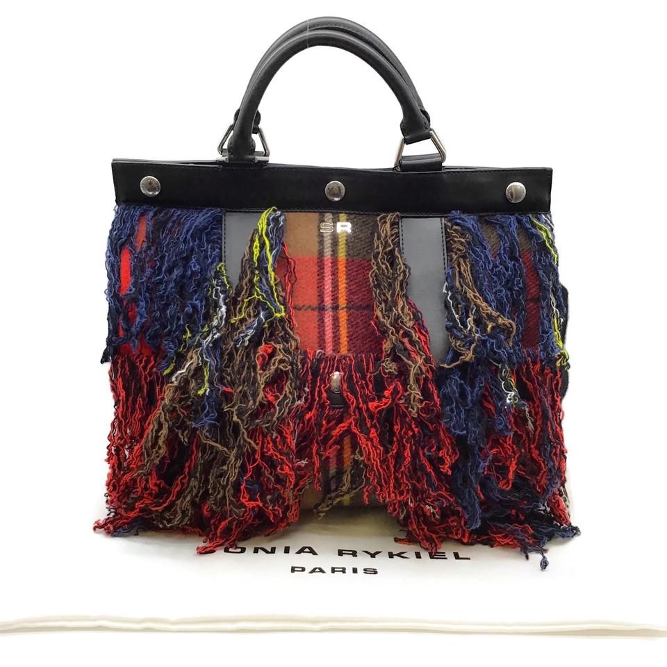 Sonia Rykiel Large Cindy Multicolor Leather/Cashmere Tote