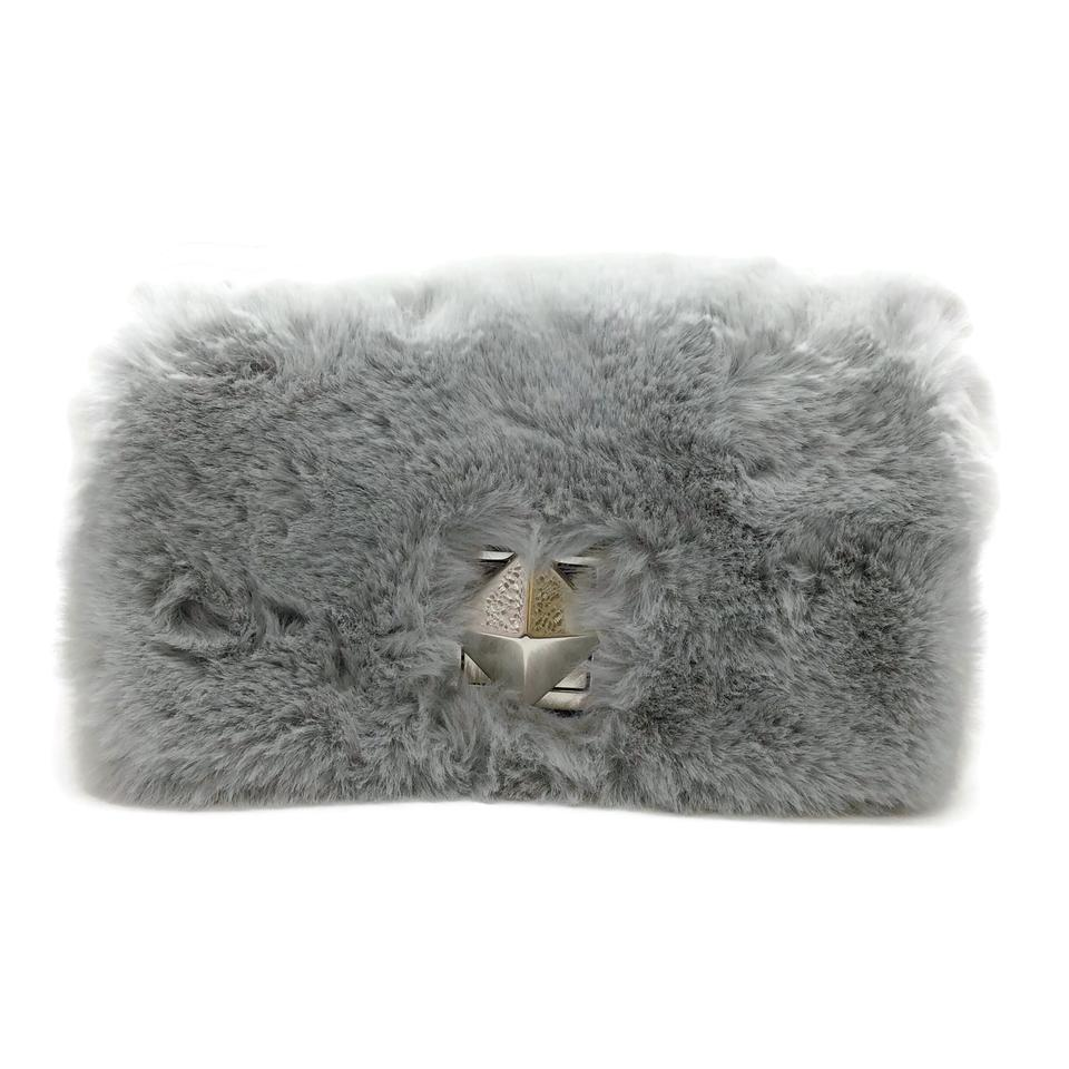 Sonia Rykiel Convertible Light Grey Faux Fur Shoulder Bag