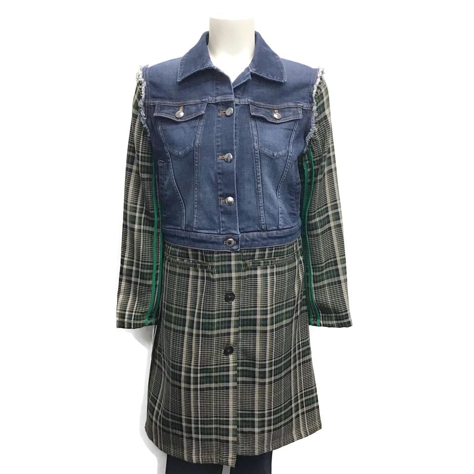 Sonia Rykiel Denim/Plaid Frayed Coat