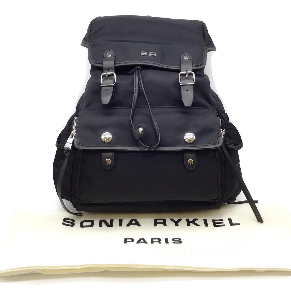 Sonia Rykiel Flap Black Nylon Backpack
