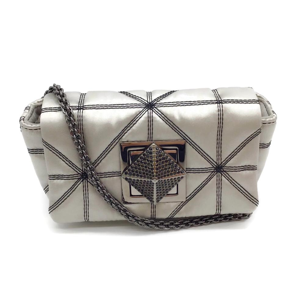 Sonia Rykiel Quilted Convertible Grey Satin Cross Body Bag