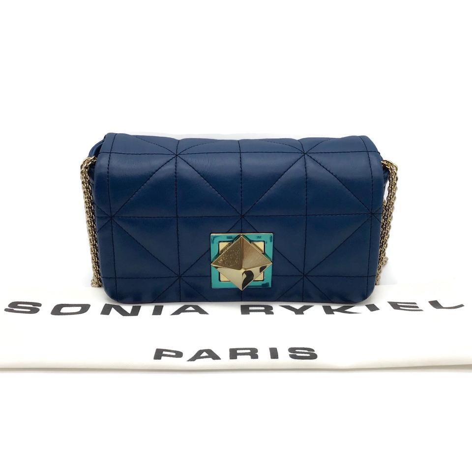 Sonia Rykiel Quilted Peacock Blue Leather Shoulder Bag