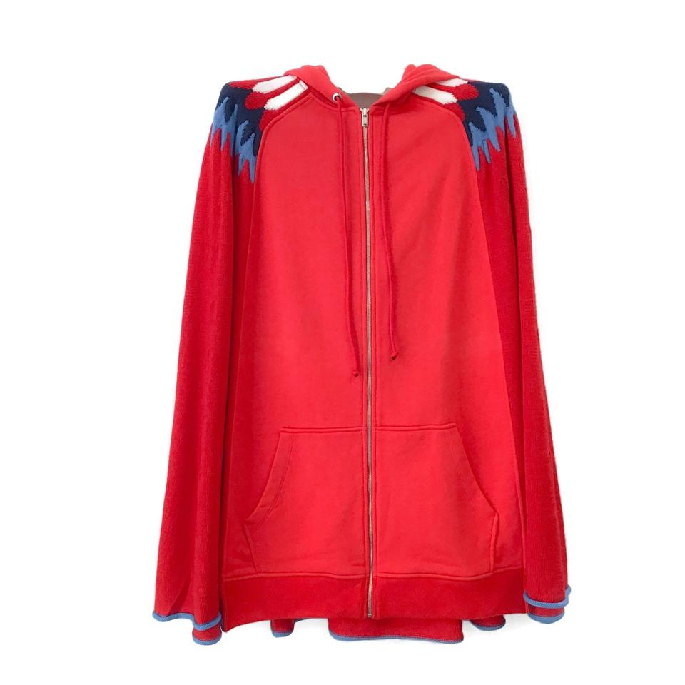 Sonia Rykiel Red Multi Hooded Poncho/Cape