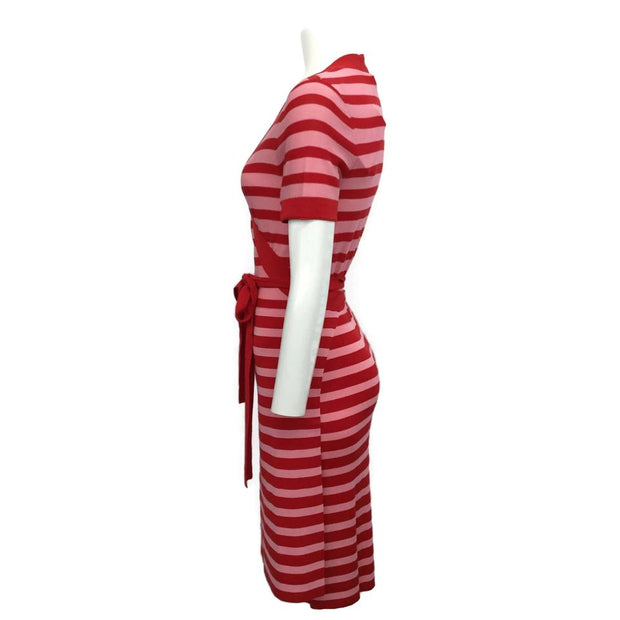 Sonia Rykiel Red/Pink Rogue Striped Wrap Short Casual Dress