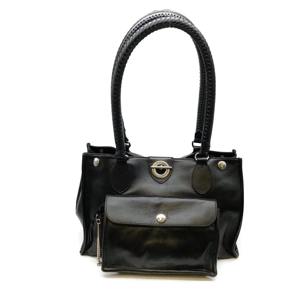 Sonia Rykiel Toggle Black Leather Tote