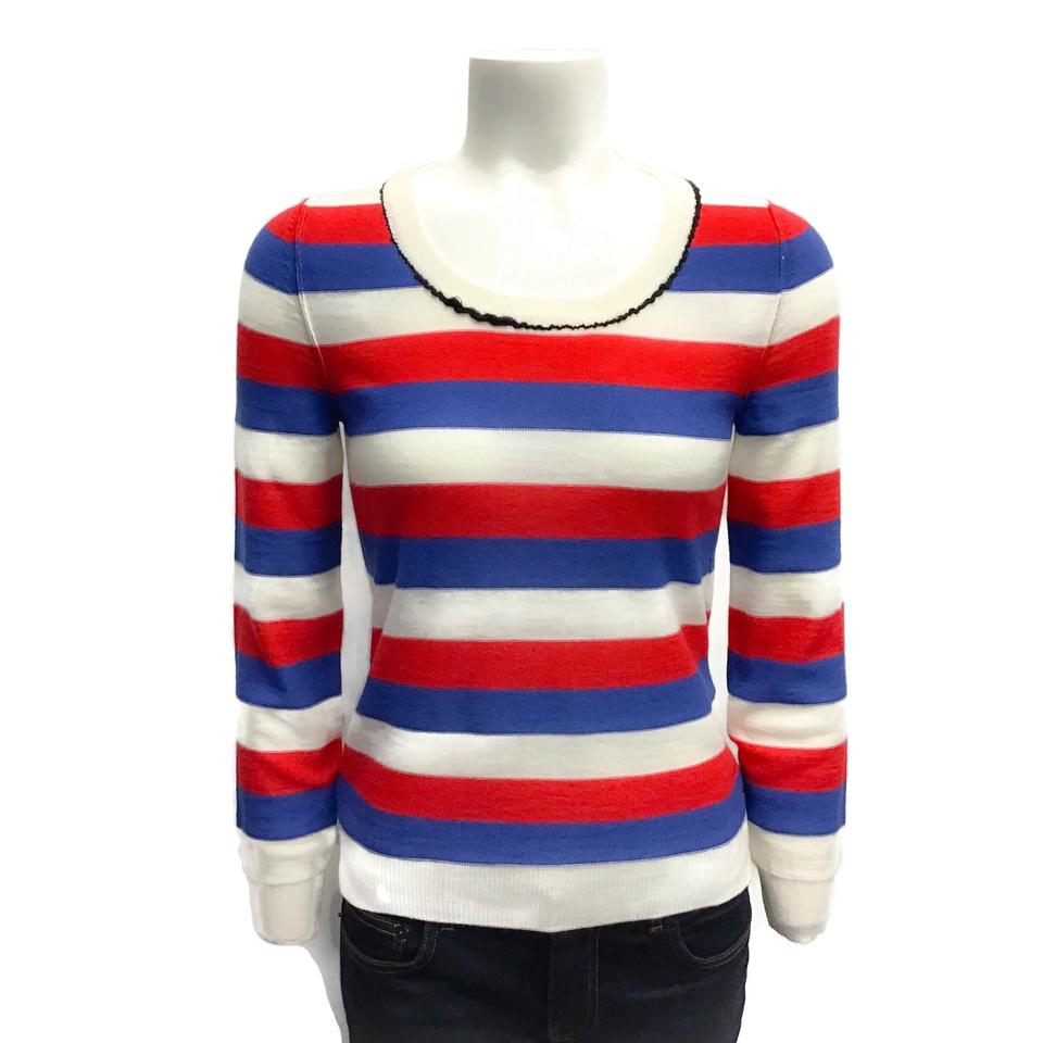 Sonia Rykiel Wool Striped Red/Blue/White Sweater
