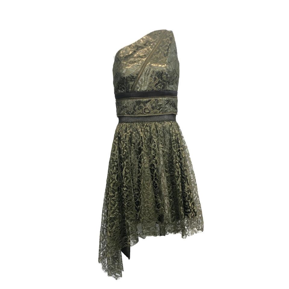 Sophie Theallet Olive and Gold One-shoulder Lace Dress