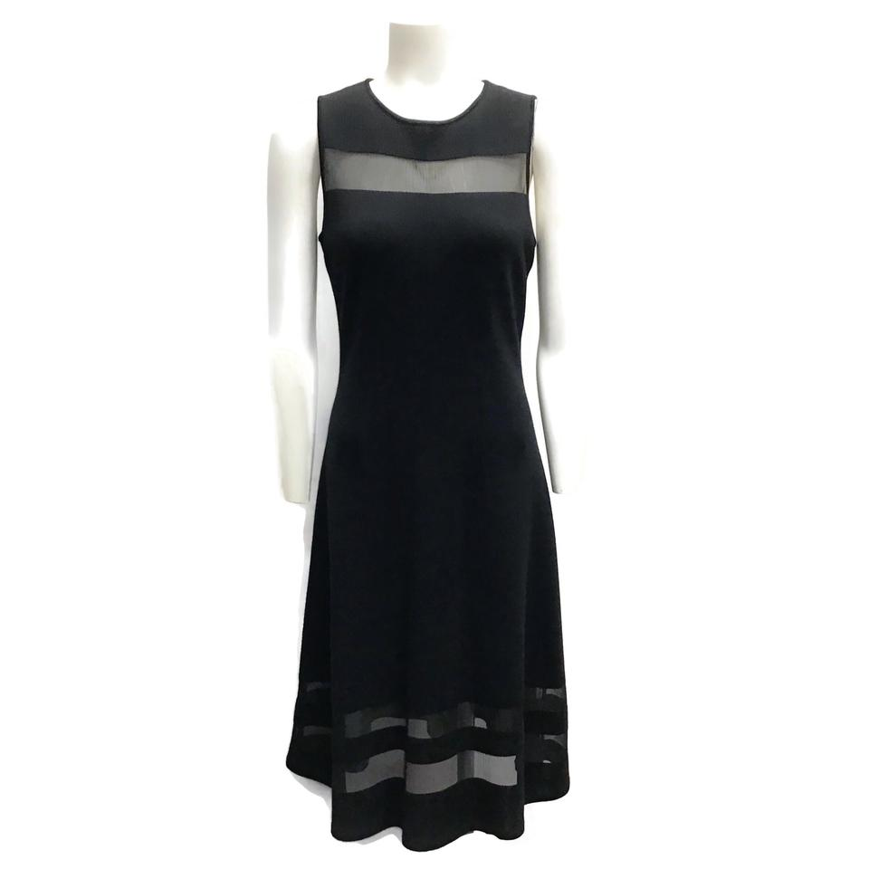 St. John Black Sheer Panel Dress