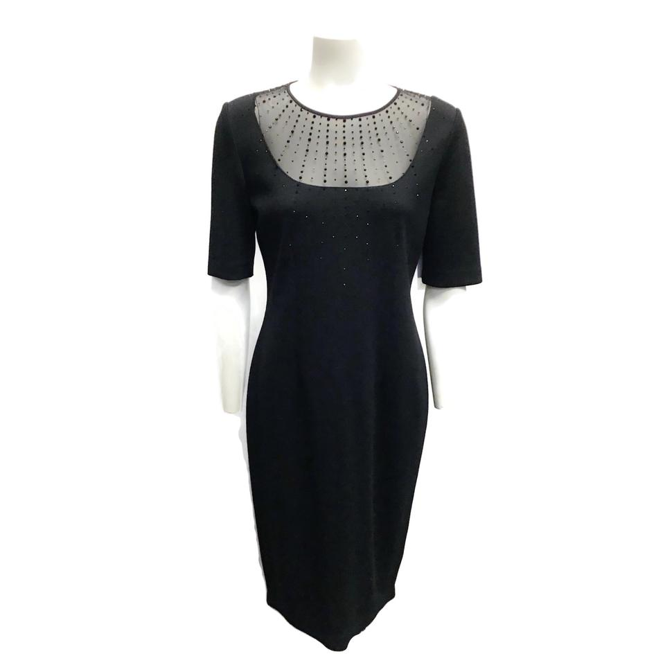 St. John Black Sparkle Knit Dress