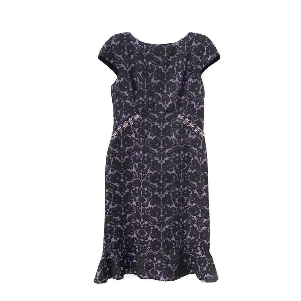 St. John Lilac/Black Brocade Dress
