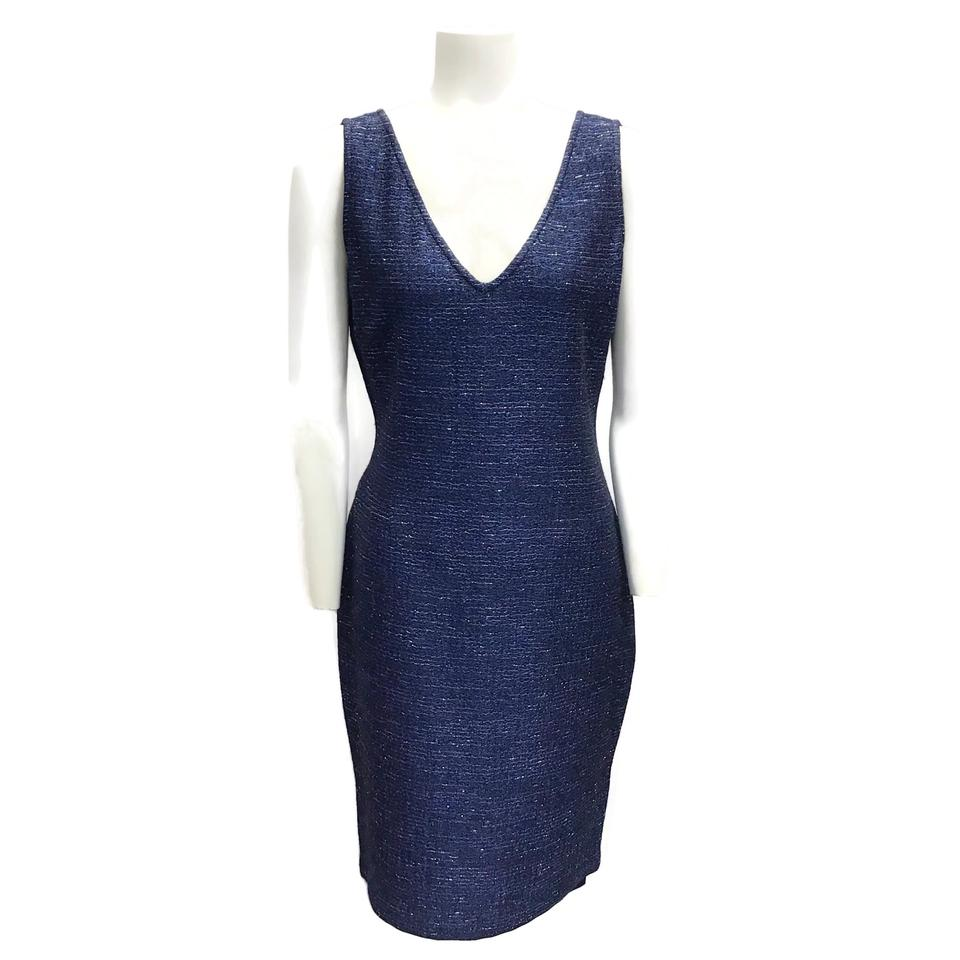 St. John Navy Metallic Dress