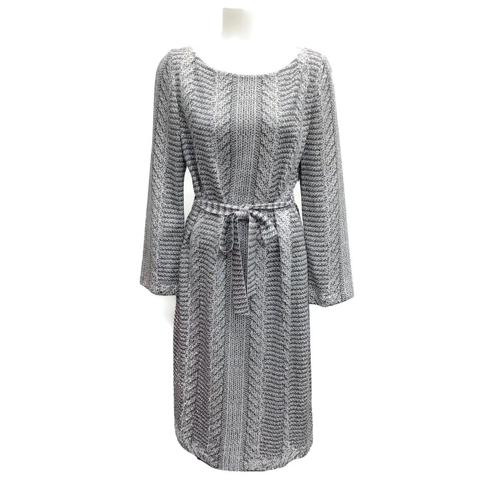 St. John Silver Belted Metallic Knit Dress