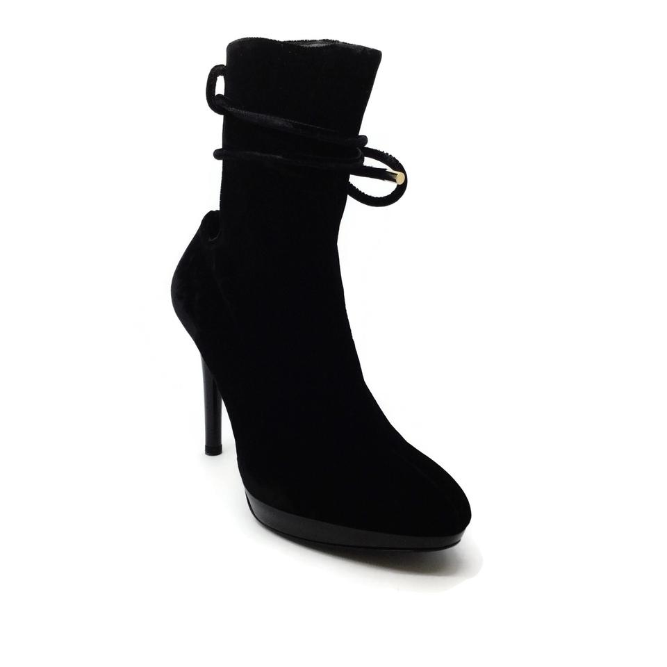 Stella McCartney Black Velvet Open Ankle Wrap Boots