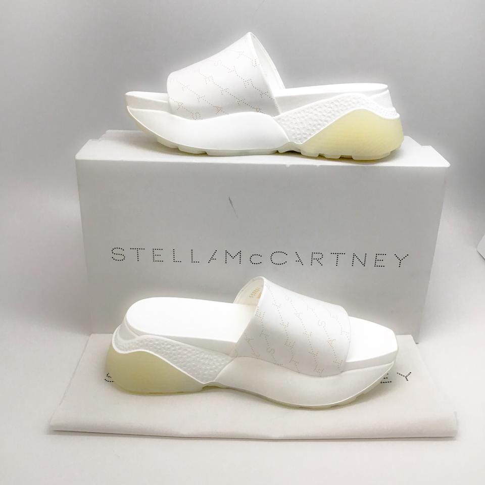 Stella McCartney White Perforated Leather Platform Sandals