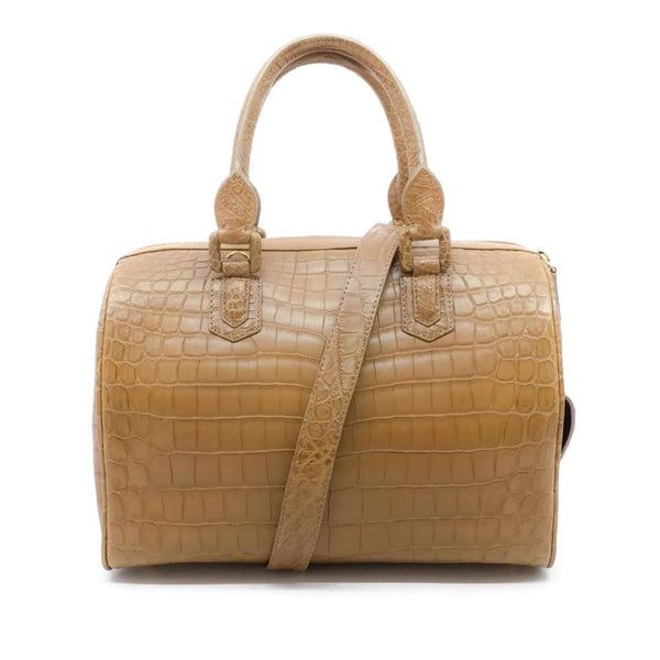 Ethan K Tan Crocodile Skin Leather Satchel