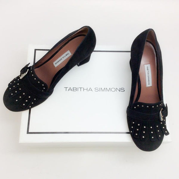 Ethel Black Suede Pumps by Tabitha Simmons with box
