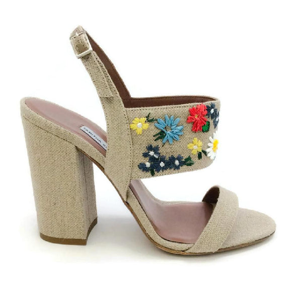 Senna Meadow Linen / Multi Sandals by Tabitha Simmons outside