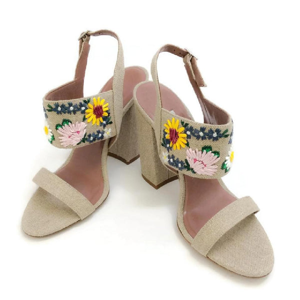Senna Meadow Linen / Multi Sandals by Tabitha Simmons pair