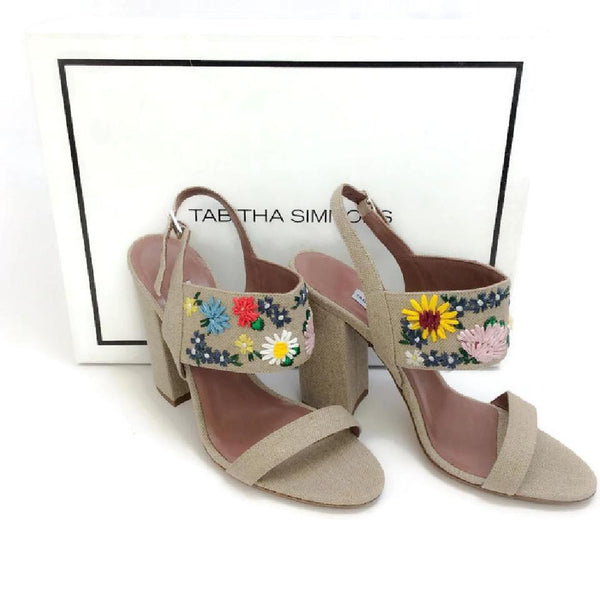 Senna Meadow Linen / Multi Sandals by Tabitha Simmons with box