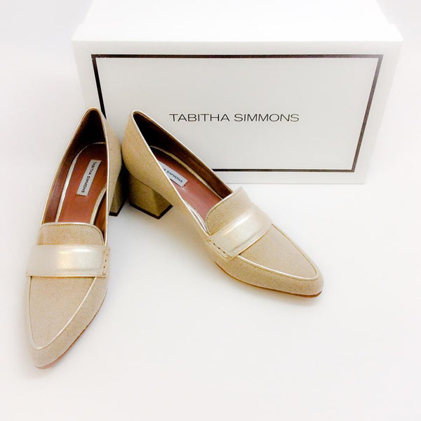 Margot Linen / Champagne Pumps by Tabitha Simmons with box