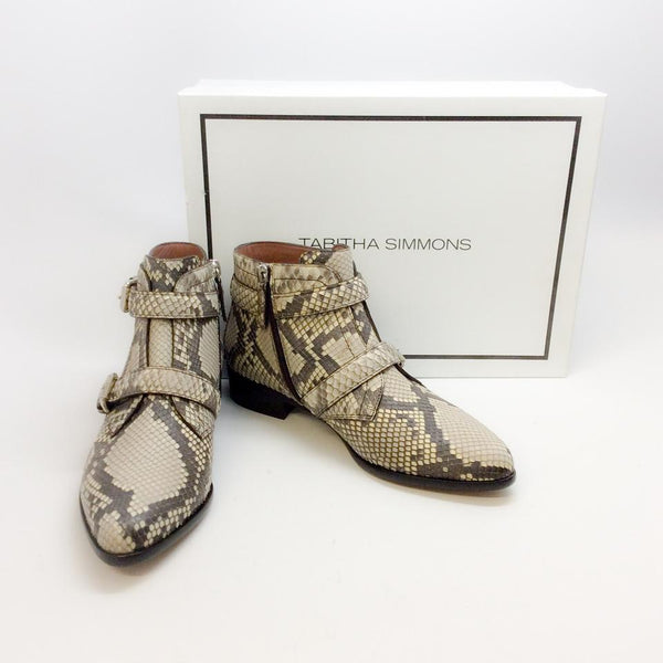 Windle 2 Strap Python Booties by Tabitha Simmons with box