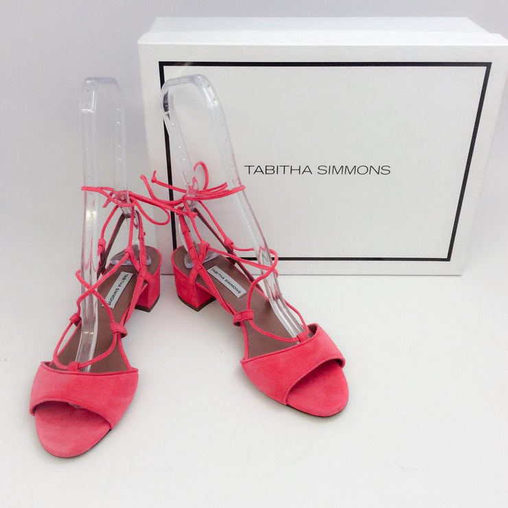 Lori Raspberry Lace Up Sandal by Tabitha Simmons with box