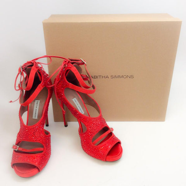 Bailey Red Satin Crystal Pumps by Tabitha Simmons with box
