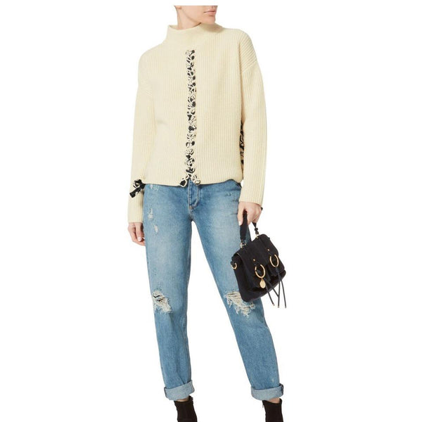 Tabula Rasa Ivory W/Black Trim Mughal Lace Up Sweater