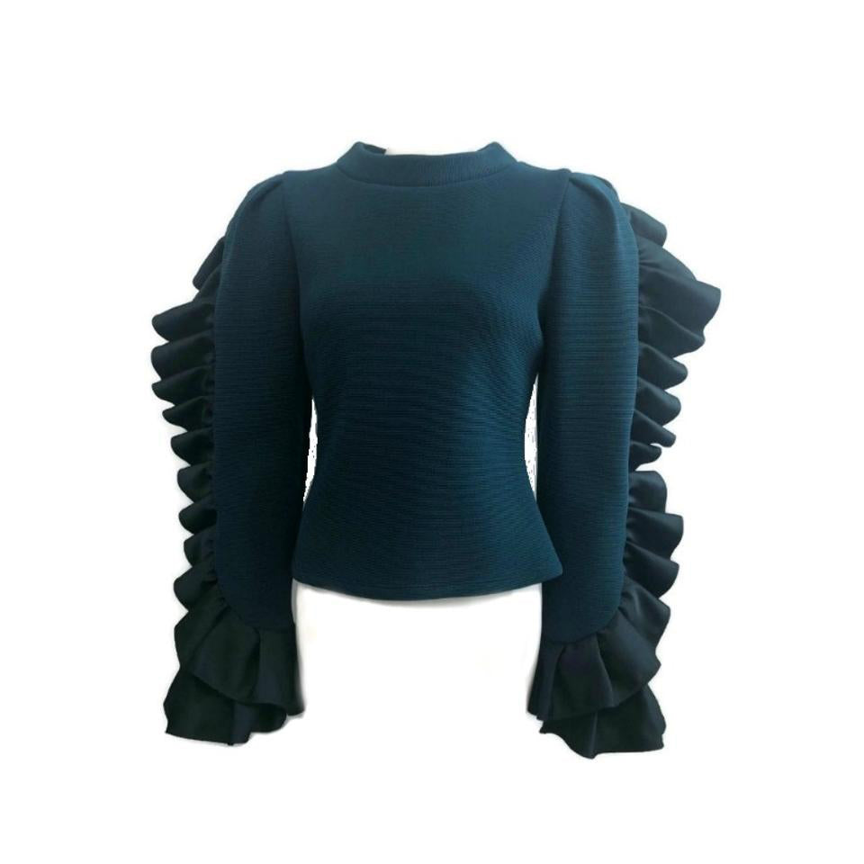 Katharine Kidd Teal Scuba with Ruffle Sleeves Blouse