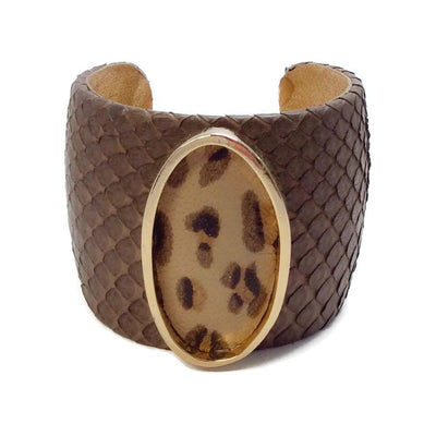 Ted Rossi Brown Python Cuff with Leopard Bracelet