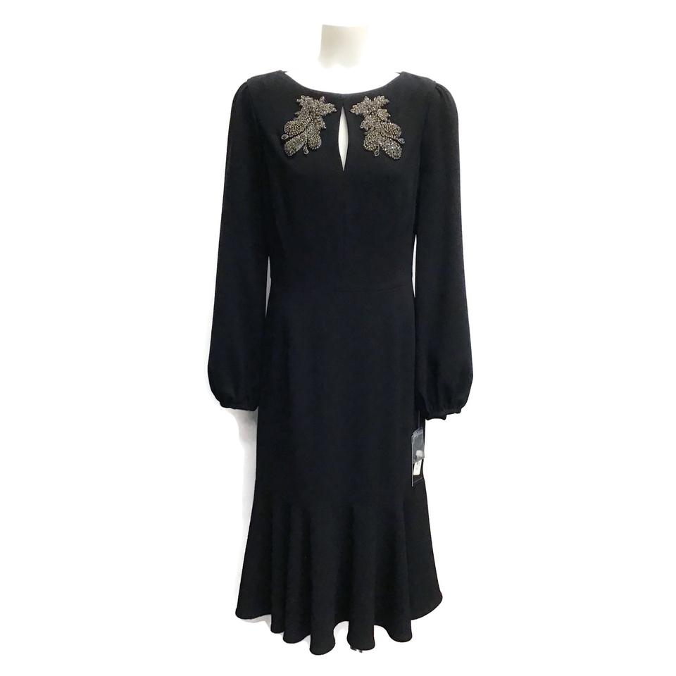 Teri Jon Black Applique Dress