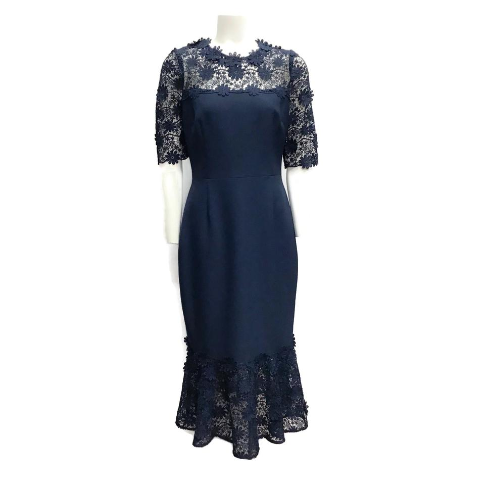 Teri Jon Navy Eyelet Fit & Flare Dress