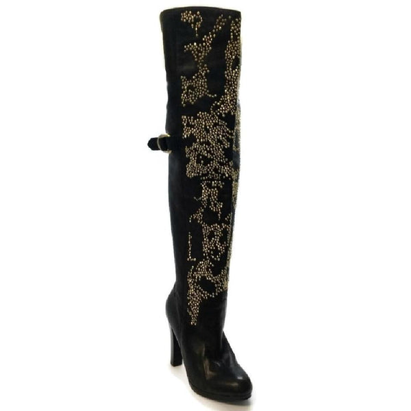 Thomas Wylde Black / Gold Studded Boots
