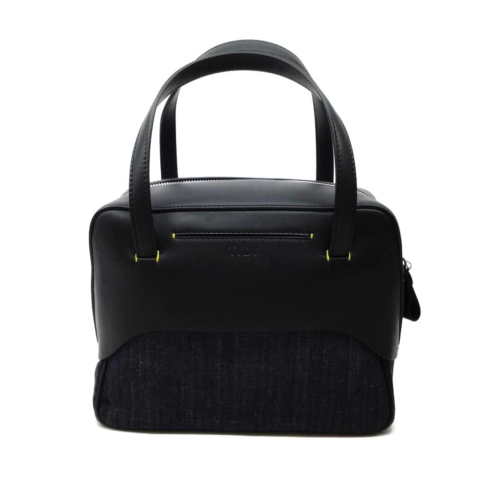 Tibi Mignon Denim / Black / Leather Satchel
