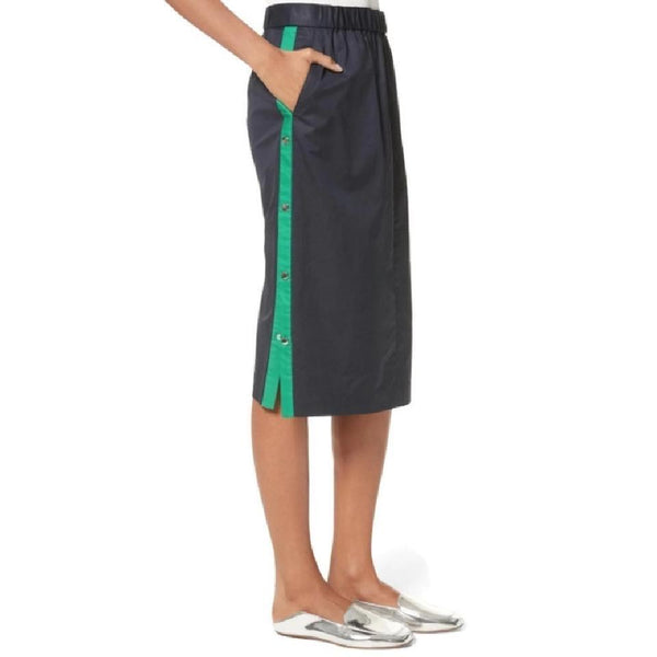 Tibi Navy / Green Poplin Stripe Skirt