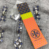 Tory Burch Etta Rhinestone Grey Sweater