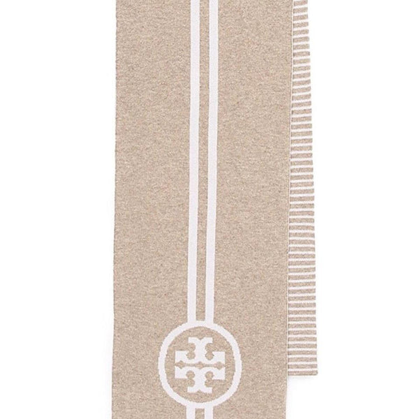 Tory Burch Tan / White Reversible Scarf / Wrap