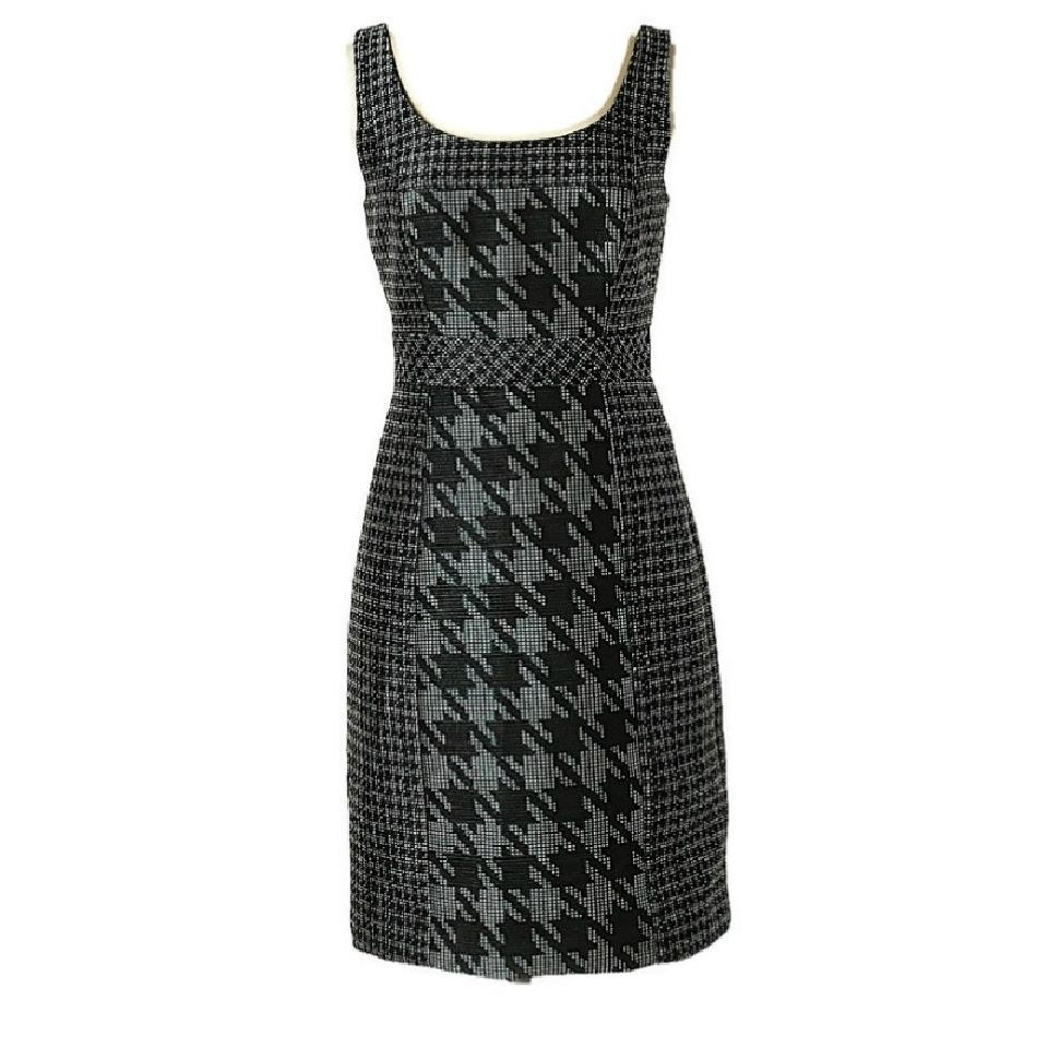 Trina Turk Teal/Black/White Elissa Houndstooth Dress