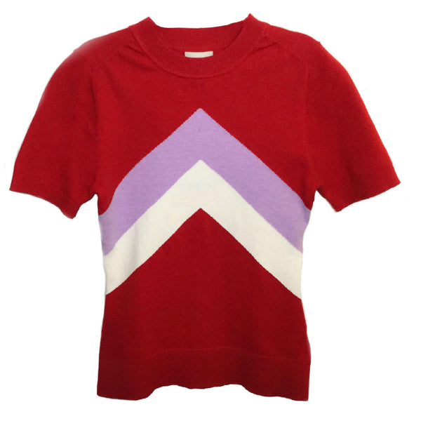 Joos Tricot Cochineal Chevron Crew Neck T Sweater