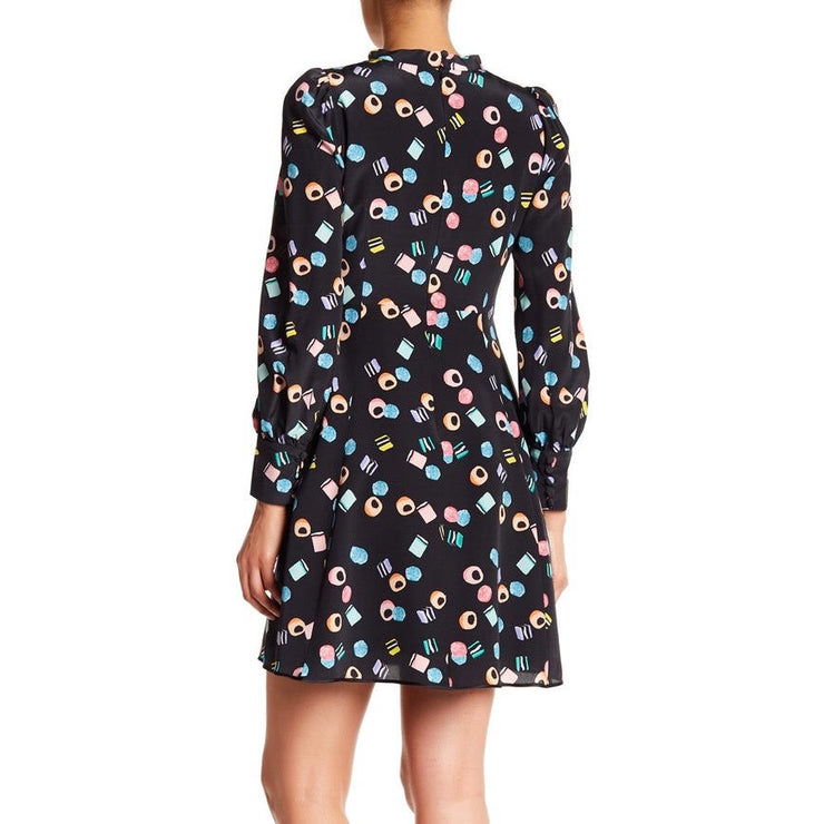 Marc Jacobs Black / Multi Tie Neck Dress