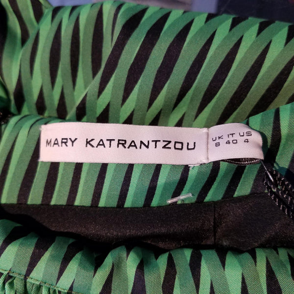 MARY KATRANTZOU Green Hera Silk Peplum Maxi Skirt