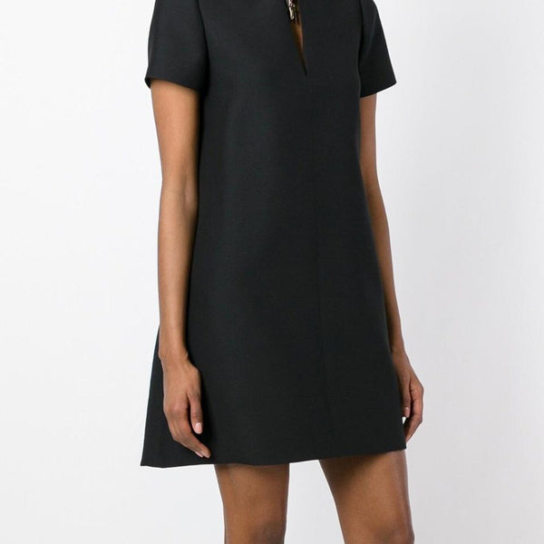 Valentino Black Short Sleeve Shift Elephant Charm Dress