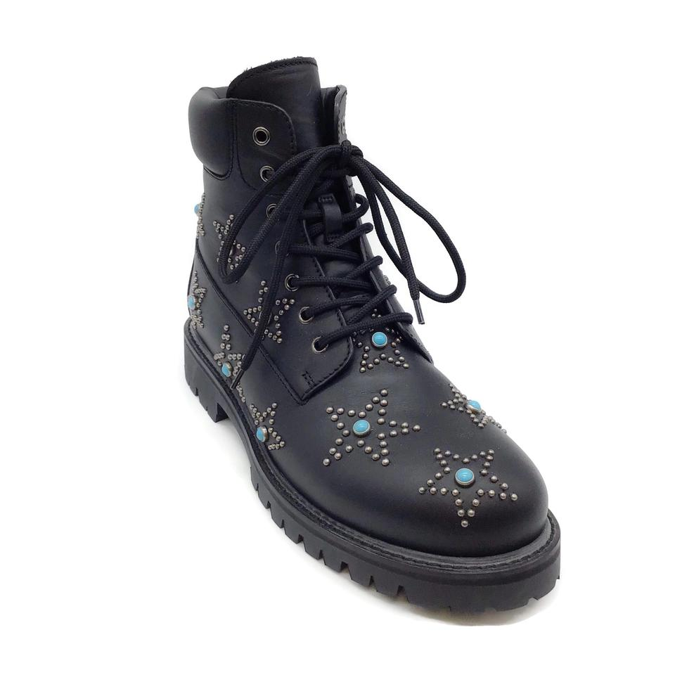 Valentino Black Star Studded Combat Boots