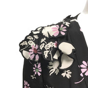 Valentino Black/Pink Floral Pleated Dress