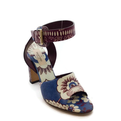 Valentino Blue / Maroon Printed Sandals