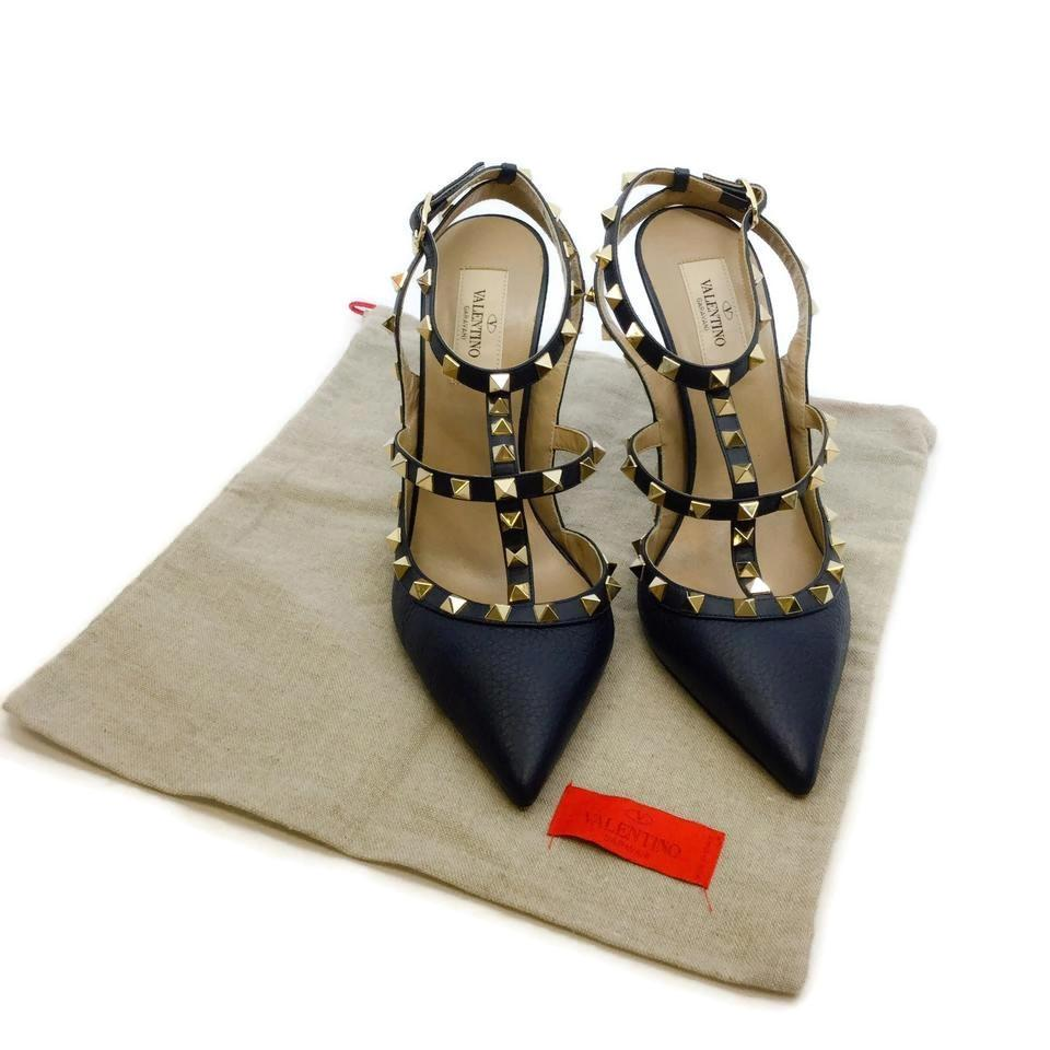 Valentino Navy Rockstud Leather Sling Pumps