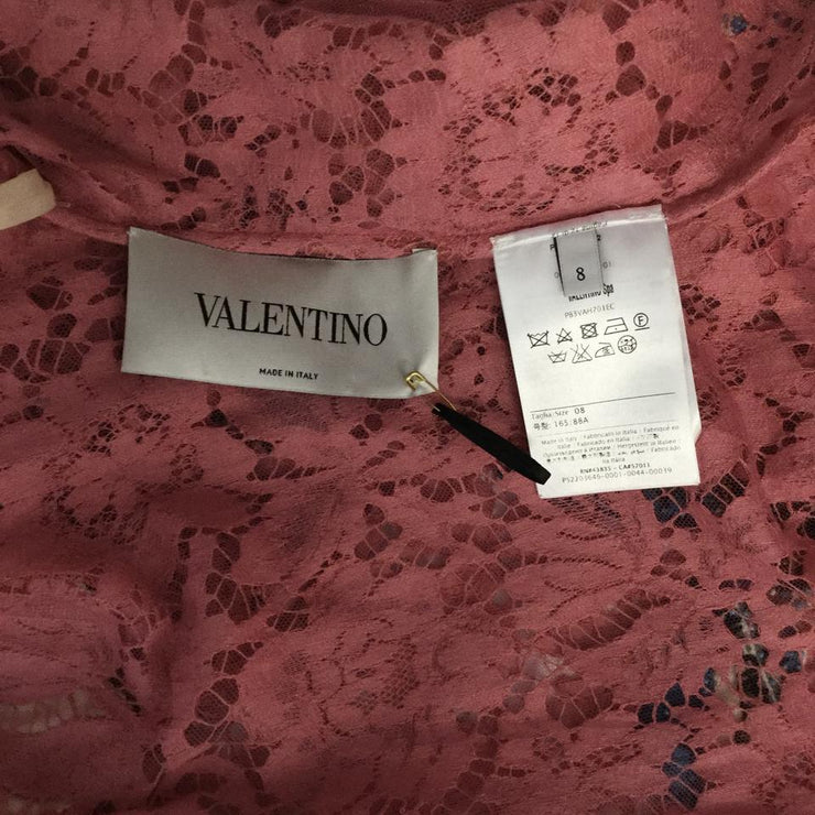 Valentino Pink Lace Butterflies Formal Dress