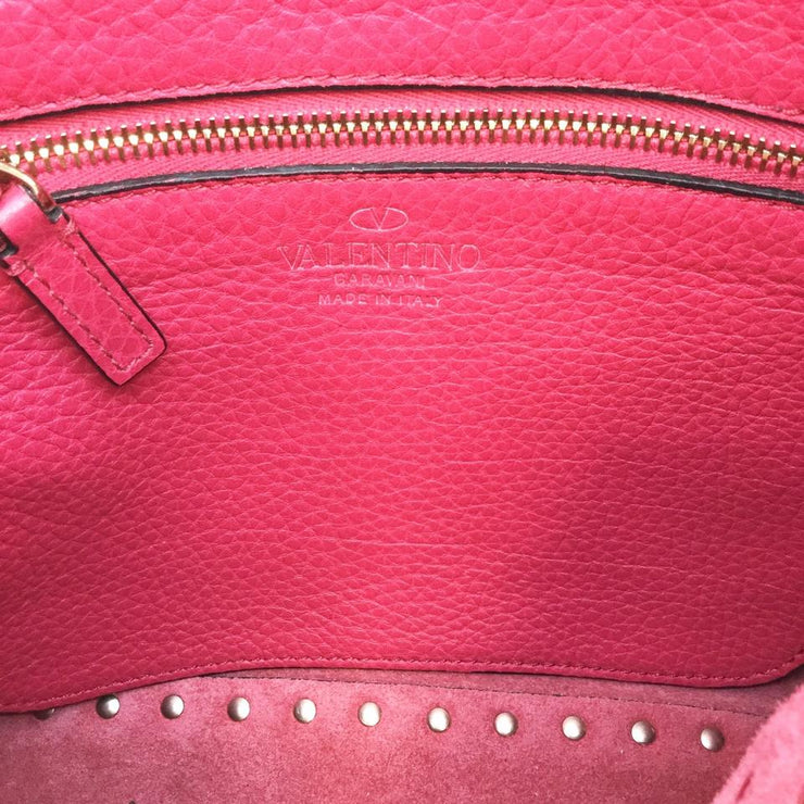 Valentino Rockstud Tote Deep Pink Leather Cross Body Bag
