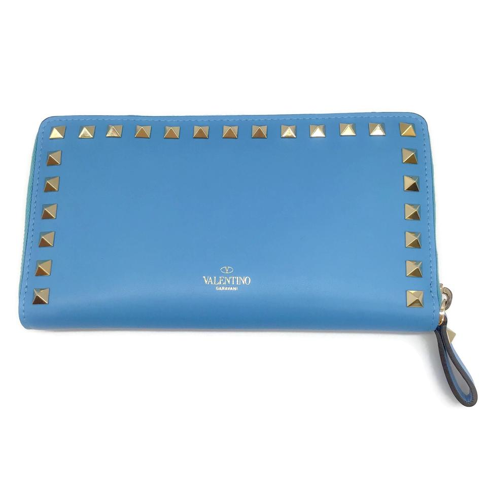 Valentino Sky Blue Leather Rockstud Wallet